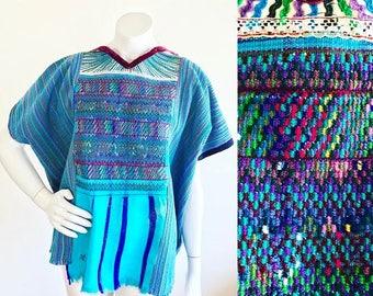 Turquoise Rainbow Striped Woven Guatemalan Huipil