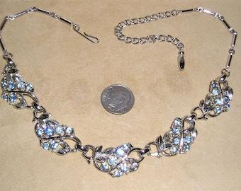 Vintage Baby Blue Rhinestone Choker Necklace Rhodium Plated 1950's Jewelry 2324
