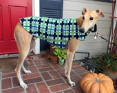 Greyhound Dog Coat, XL Dog Coat, Navy, Denim Blue, Green, and White Plaid Fleece with Navy Fleece Lining