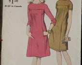 50%off Spring Sale Vogue 6992 1960s 60s Mod A line Princess Seams Dress with Pockets Mini  MCM Vintage Sewing Pattern Size 16 bust 36