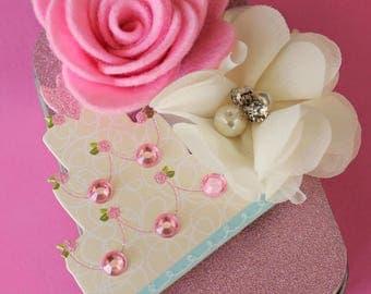 Wedding Gift Card Holder, Bridal Shower, Keepsake Mini Altered Tin with Felt Flowers, Blushing Pink