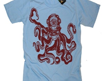 Octopus in Vintage Deep Sea Diver Helmet T-Shirt tee Nautical Octopus Lets Get Kraken Octopus Shirt Gifts For Him Her Dad Novelty Gifts