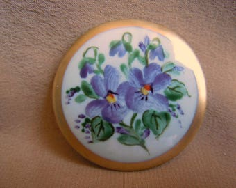 1 Brooch Porcelain Handpainted with Violets and Matt Gold