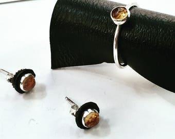 Citrine Stud Earrings, 5mm Citrine Studs, Rose Cut Citrine, Black Ear Jackets, Black and Yellow Earrings, Honey Citrine