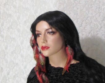 Feather Hair Extension Orange Browns, Matching Earring
