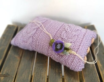 Lavender Mini Pillow and Purple Tieback Set Photography Prop, RTS