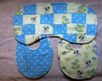 bitsybasics yellow and blue bib and burpcloth