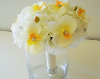 Ivory Orchids Bridal Bouquet with Rhinestone Accent