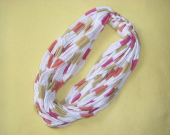 Recycled T-shirt Infinity Scarf Fabric Necklace - white with pink, peach, and tan, upcycled tshirt scarf necklace