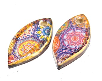 Ceramic Earring Charms Pair Dangles Beads Floral Paisley Purple Moroccan