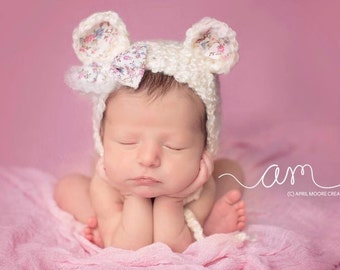 Newborn Bear Bonnet - Newborn Photo Prop - Newborn Girl Hat - Newborn Crochet Hat - Newborn Bear Hat - Baby Bear Hat