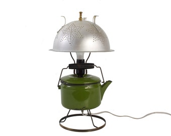 Upcycled Lamp - Kitchen Lamp - Enameled Tea Pot - Colander