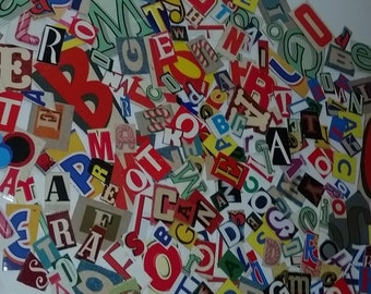 Colorful cardboard letters clippings random lot 25 pieces from vintage and recent packaging mixed media scrapbooking supplies