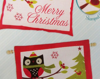 Christmas Fabric Panel Chilly Owl, Embroidery Pillow or Wall Hanging Needle Creations, Cardinal Owl, Whimsical Christmas Sewing Fabric