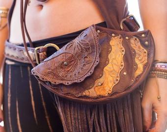 CUSTOM Made to Order | Chrysalis Leather Sling Purse | Hip Belt | Utility Belt | Hip Bag | Modular | OSFA | Festival Wear | Burning Man