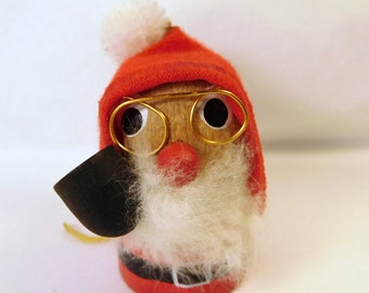 "Vintage SANTA WOOD CHRISTMAS Ornament / Decoration - Taiwan with Label - Glasses & Pipe - Small Miniature 2.75"" Tall - Cute"