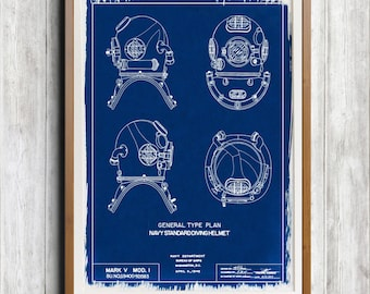 Navy Diving Helmet A4 Hand coated traditionally made cyanotype blueprint