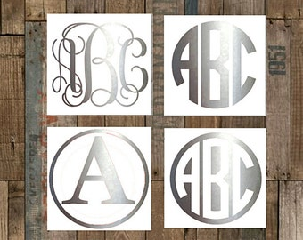 Silver Monogram Decal–Custom Vinyl Decal-Tumbler Decal–Yeti Decal–Shiny Silver Decal–Personalized Decal–Car Decal-60+Additional Colors