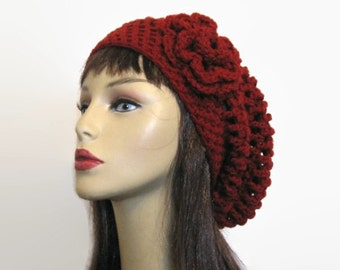 Maroon Slouch Beanie with Flower Crochet Beanie Red Slouchy Beanie Crochet Red Hat Maroon Knit Beanie crochet Cap Dark Red Slouchy Beret