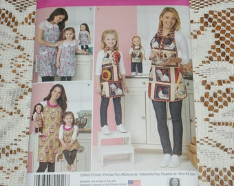 New Simplicity Apron pattern  Mommy and Me and 18 inch doll  OSZ 1241 same as S0476