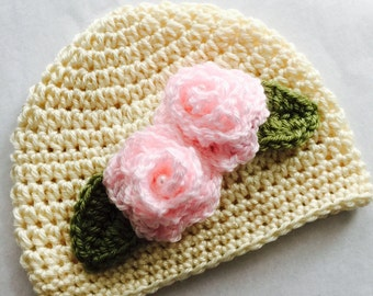 Crochet Baby Hat with Roses, Cream Crochet Baby Hat, Newborn Hat, Baby Hat, Cream Baby Hat, Baby Girl Hat, Valentine Hat