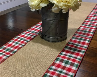 Plaid and burlap holiday table runner READY TO SHIP