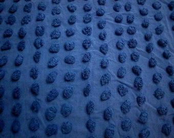 "ROYAL BLUE on Blue POPS Vintage Chenille Bedspread Fabric - Rare Color - 18"" X 30"""