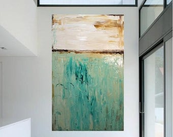 2 DAY SALE Modern 48 x 36 deep gallery canvas Abstract painting,Original comtemporary Art,lots of texture Ready to hang  by Nicolette Vaugha