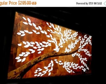 """2DAY SALE XL Abstract Acrylic painting Original 48"""" palette knife impasto Acrylic Tree Of Life painting by Nicolette Vaughan Horner"""