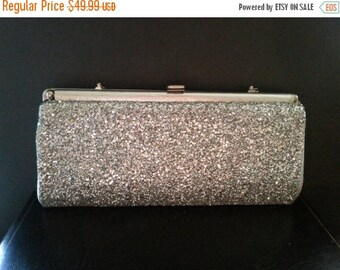 Now On Sale Vintage Silver Purse Sparkly Glitter 1960''s Collectible Clutch Mad Men Mod Hollywood Regency Mid Century Handbag