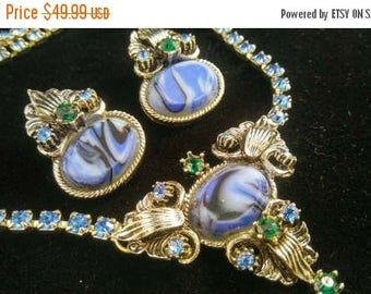 Now On Sale Vintage Blue Rhinestone Necklace Earring Set - 1940's 1950's Art Deco Jewelry - Retro Demi Parure