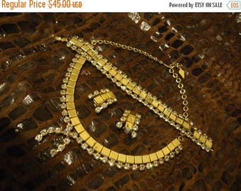 Now On Sale Vintage Full Parure Rhinestone Necklace Bracelet Earring Set 1950's Collectible Jewelry Rockabilly Mod Old Hollywood Glam