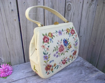 Gorgeous Petit Point Purse Handbag - Embroidered Roses and Floral - Ivory White - Single Leather Handle - Tapestry Needlepoint - Soooo Chic