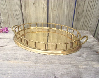 Vintage Brass Bamboo Tray Hollywood Regency Gold Oval Faux Bamboo Serving Tray - Bar Cart Tray - Vanity Perfume Holder - with Handles
