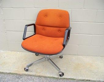 Pollock Knoll Style Office Arm Chair - Retro Orange Cream Back - Mid Century Chrome - Rolls Spins Tilts Swivels PAIR AVAILABLE #1 - Allsteel