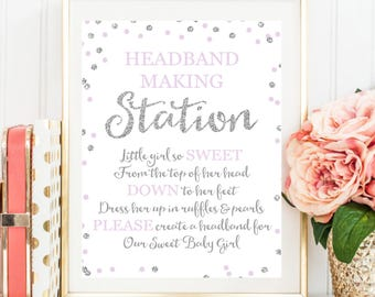 Headband Sign, Headband Station Sign, Headband Baby Shower Sign, Baby Shower Printable, Silver Glitter Lavender Gold Baby Shower BB19
