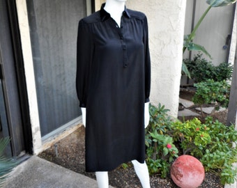Vintage 1970's Frederika Jean Stark Black Silk Dress - Size 4