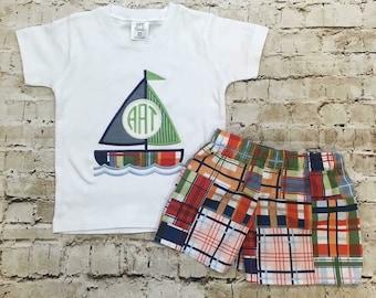 Boy's Sailboat outfit, boy outfit, applique shirt