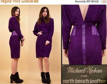 SALE 25%OFF 80s Vtg North Beach Leather Purple Suede FUTURISTIC Batwing Mini Dress / Michael Hoban Deep V Avant Garde Nouveau / Small