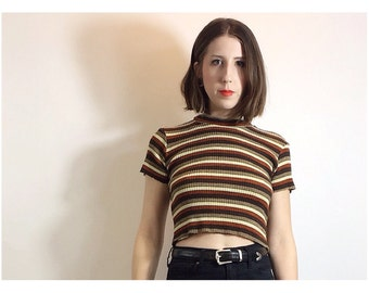 Retro Stripe Crop Top 70's 90's Inspired Made to Order from Deadstock Fabric Small Medium
