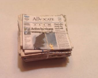 Miniature Bundle of Newspaper Recycling Dollhouse Scale 1:12 Custom Top Page