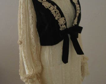 Boho Peasant Lace Tunic and Velvet Bolero Vest 2 pc