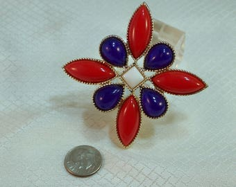 Vintage c1960's Emmons Signed Red White and Blue Patriotic Maltese Cross Brooch