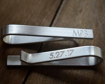 Tie Clip - Tie Bar - Mens Engraved Tie Bar Clip - Hidden Message