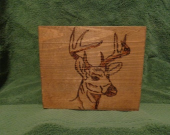 Primative Rustic Planter Box Buck Deer Head  Wood Burning Table Centerpiece Wedding Centerpiece Home Decor Fall Handmade Wooden Box