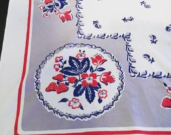 Vintage Mid-Century Red, White + Blue Tablecloth - Floral Table Linen