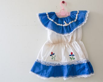Vintage Baby Dress Vintage Blue Embroidered Lace Dress Size  Blue Dress