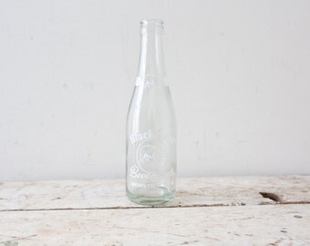 Vintage Black Bear Beverages Bottle Soda Pop Clear Glass White Label St. Francis Wisconsin