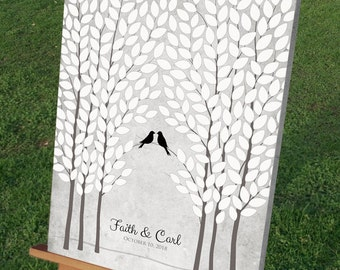 Black & White Wedding Tree Guest Book Alternative, Unique Wedding Tree Guest Book, Personalized Love Birds, 50-300 Guests, Canvas or Print