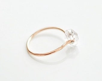 Minimal Raw Herkimer Diamond Quartz Hammered 14K Rose Gold/ Yellow Gold/ Sterling Silver Dainty Ring